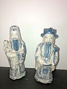 """Antique Chinese Fujian Guild Blue/white Porcelain Statues """"two Lucky Gods"""" 10"""
