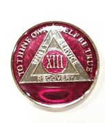 13 Year Aa Sobriety Coin Medallion- Rich Mandarin Red Enamel 13th Xiii Anonymous