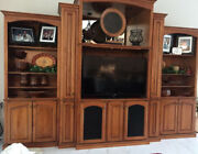 Entertainment Center Wall Unit-11 Ps 154l X28wx108h-light Red Mohogany-pickup
