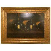 Bartolome Luzanquis Oil On Canvas Still Life Of Wine Bottles With Glasses