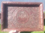 Old Leather Wooden Tray With Ship And Birds Oriental Chinese Antique