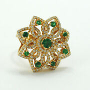 Important Modern Ring 18k Yellow Gold, Diamonds And Emeralds.