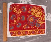 Antique French Turkey Red,yellow Andblue Resist And Block Printed Fabric Sample