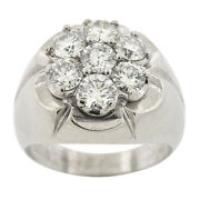 Menand039s Real 14k White Gold Genuine Diamond 7 Stone Cluster Ring Solid Heavy Pinky