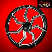 2008-2019 Harley Black Contrast 23 Inch Front Wheel And Floating Rotors Sniper