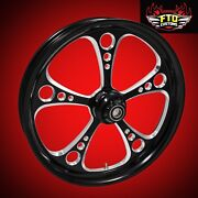 2000-2007 Harley Black Contrast 26 Inch Front Wheel And Floating Rotors 3-shot