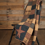 Patriotic Patch Patchwork Quilted Throw Quilt Blanket Primitive Americana