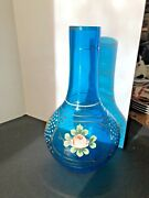 Large Bohemian Moser Turquoise Blue Hand Painted W/gold Applied Flower Vase 10.5