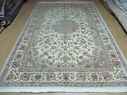 6and039 X 9and039 Vintage Chinese Floral Oriental Hand Made Virgin Wool Silk Rug Ivory
