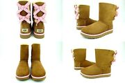 Ugg Bailey Bow Gingham Chestnut Color Suede Sheepskin Boots Size 6 Us Super Rare