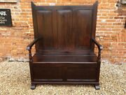 Early 19th Century Welsh Antique Pine Box Settle Seat Chair