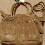 B. Makowsky Ollie Satchel Tan Shimmer Leather New Convertible