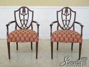 30149ec Pair Federal Style Carved Back Occasional Arm Chairs