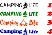 Camping Life Campfire Window Wall Decal Boat Trailer Truck Camper Rv Cabin Tents