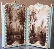 Superb Luneville France Faience Hand Painted Scenic Rococo Letter Holder C 1900
