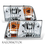1998-2011 Replacement Headlight Pair For Ford Crown Victoria W/bulb + Socket