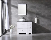 36inch White Bathroom Vanity Cabinet Top Single Vessel Sink And Faucet Combo