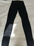 J Brand Black Skinny Jeans With Ripped Knees Size 25