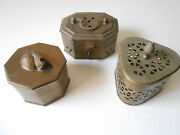 Small Brass Trinket Boxes - Sleeping Cat And Artifact Types