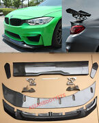 For Bmw M4 F82 Gts Style Carbon Front Lip And Carbon Fiber Trunk Spoiler Wing