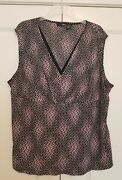 East 5th Sleeveless Blouse 3x Plus Multi-color Casual Polyester Geometric V-neck