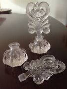 Antique Glass Perfume Bottles With Ornate Stoppers.
