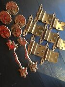 """Vintage French Provincial Hinges 7, Drawer Pulls 2 3"""" And 5 Knobs"""
