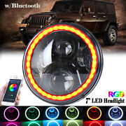 7 Halo Ring Led Headlight With Rgb Bulb Bluetooth App Control For Jeep Wrangler