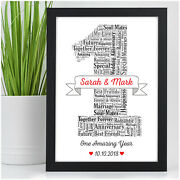 Personalised 1st First Wedding Anniversary Gifts Husband Wife Paper Anniversary