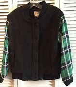 Nwt Sea Ny Wool Combo Bomber Plaid Faux Fur Sz 2 Msrp 595 Sold Out