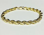 18k Solid Yellow Gold Diamond Cut Rope Link Chain/bracelet 8 7 Mm 33 Grams