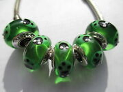 5 Authentic Pandora Silver 925 Ale Green Ladybugs Murano Glass Beads Charms New