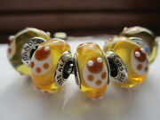 5 Authentic Pandora Silver 925 Ale Yellow Ladybugs Murano Glass Beads Charms New