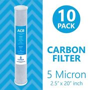 Activated Carbon Block Big Blue Water Filter Andndash 2.5andrdquo X 20andrdquo 5 Micron Andndash Acb 10 Pack