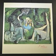 Pablo Picasso Beautiful Hand Signed Lithograph Women By A Pond With Coa.