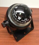 Marine Boat Sports 2.25 D Compass With Black Bracket Visible Luber Line