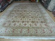 8and039 5 X 12and039 Hand Made India Agra Floral Oriental Wool Rug Tea Washed Carpet Nice