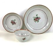 3 Piece Trio Antique 18th C Chinese Export Porcelain Cup And Saucer And Plate
