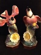 2 Vintage Pink Porcelain Bird Figurines And Flowers 10 High X 4 W