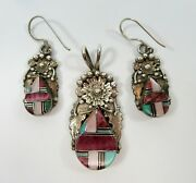 Sterling Navajo Inlay Earrings Pendant Turquoise Oyster Onyx Virginia C A462