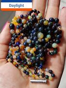 Opal Bead Multi Strand Necklace 29g/145ct Antique 925 Silver Clasp