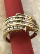 10k Yellow Gold Round Natural Diamonds Bypass Love Signed Ring
