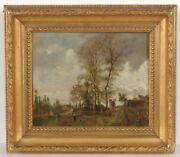 Leon Victor Dupre 1816-1879 Farm At The Village Edge Oil Painting