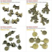 Antique Bronze Tone Jewelry Charms Cabochon Blank Dog Food Dish Doghouse Beads
