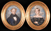 Portraits Of Husband And Wife Two Austrian Miniatures Ca.1840