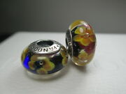 Lots 5 Pandora Silver 925 Ale Golden Flowers Mixed Glass Murano Beads Charms New