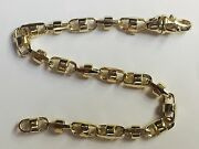 18k Solid Yellow Gold Anchor Bullet Chain Bracelet 6.5 Mm 27 Grams 9
