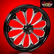 2008-2020 Harley Black Contrast 23 Inch Front Wheel Floating Rotors Wizard