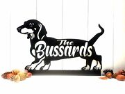 Dachshund Custom Last Name Sign Dog Doxin House Number Steel Metal Address Sign