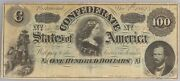 1862 T-49 100 One Hundred Dollar Confederate Currency Lucy Pickens Csa War Note